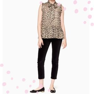 NWT Kate Spade Leopard Clipped Dot Top size Medium